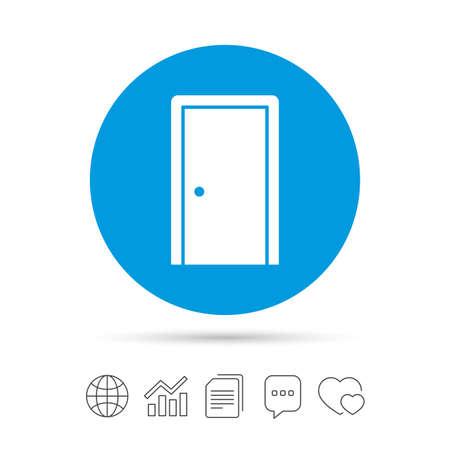 Door sign icon. Enter or exit symbol. Internal door.