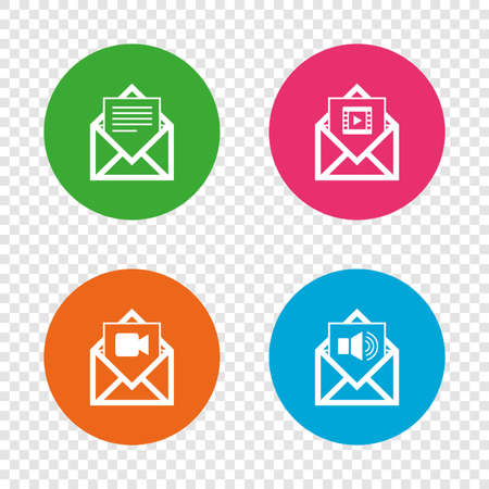 webmail: Mail envelope icons. Message document symbols. Video and Audio voice message signs. Illustration