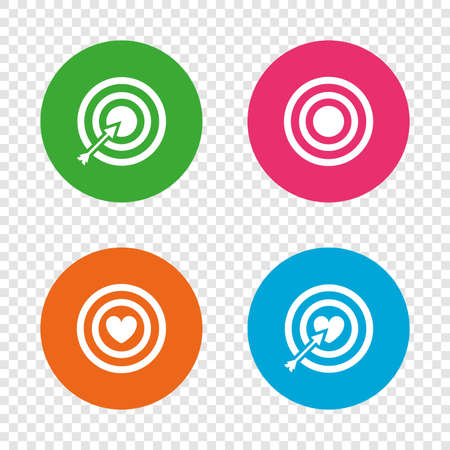 targets: Target aim icons. Darts board with heart and arrow signs symbols. Illustration
