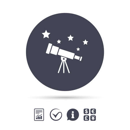 Telescope with stars icon. Spyglass tool symbol. Report document, information and check tick icons. Currency exchange. Vector
