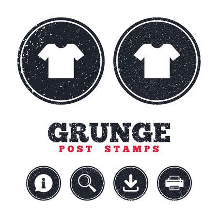Grunge post stamps. T-shirt sign icon. Illustration