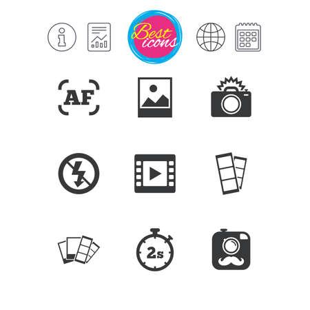 Informationen, Bericht und Kalenderzeichen. Foto, Video-Symbole. Kamera, Fotos und Rahmenschilder. Keine Flash-, Timer- und Streifensymbole. Klassische einfache flache Netzikonen. Vektor Standard-Bild - 74438910