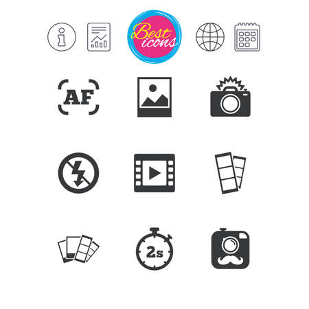 Information, report and calendar signs. Photo, video icons. Camera, photos and frame signs. No flash, timer and strips symbols. Classic simple flat web icons. Vector Illustration