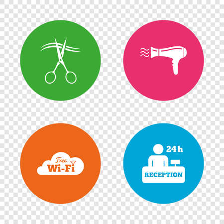Hotel services icons. Wi-fi, Hairdryer in room signs. Wireless Network. Illustration