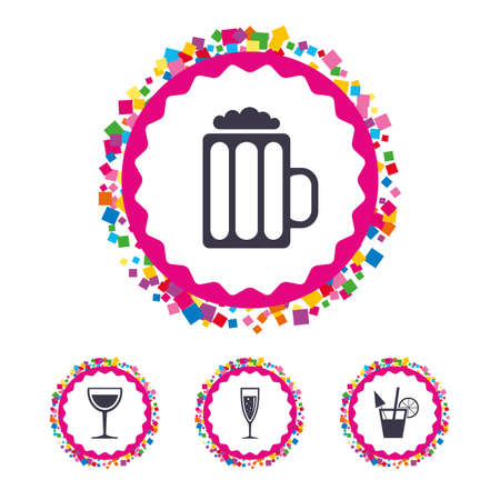 Web buttons with confetti pieces. Alcoholic drinks icons. Illustration