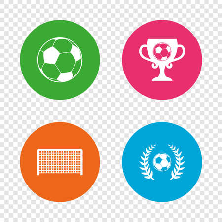 Football icons. Soccer ball sport sign. Goalkeeper gate symbol. Winner award cup and laurel wreath. Round buttons on transparent background. Vector