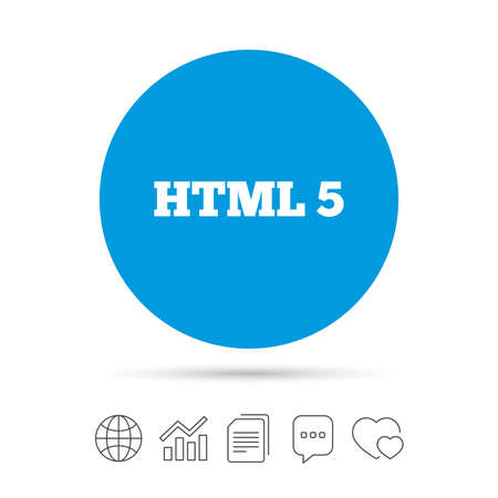 markup: HTML5 sign icon. New Markup language symbol. Copy files, chat speech bubble and chart web icons. Vector