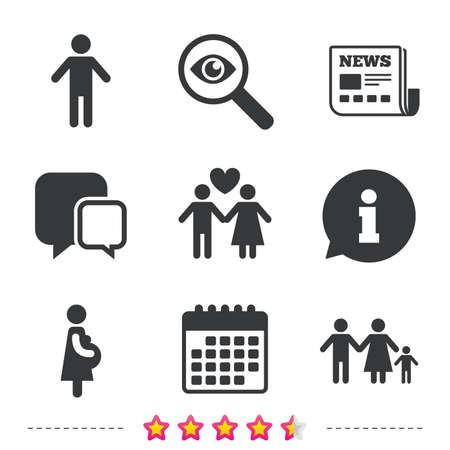 Family lifetime icons. Couple love, pregnancy and birth of a child symbols. Human male person sign. Newspaper, information and calendar icons. Investigate magnifier, chat symbol. Vector