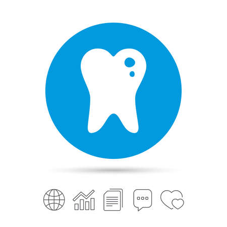 filling folder: Caries tooth icon. Tooth filling sign. Dental care symbol. Copy files, chat speech bubble and chart web icons. Vector
