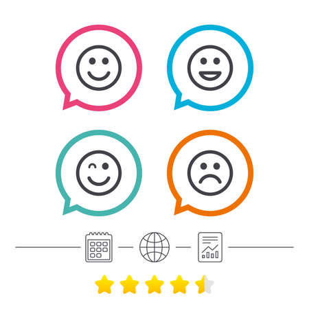 Smile icons. Happy, sad and wink faces symbol. Laughing lol smiley signs. Calendar, internet globe and report linear icons. Star vote ranking. Vector