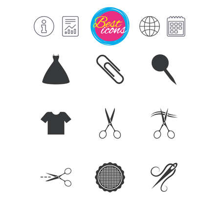 Information, report and calendar signs. Tailor, sewing and embroidery icons. Scissors, safety pin and needle signs. Shirt and dress symbols. Classic simple flat web icons. Vector