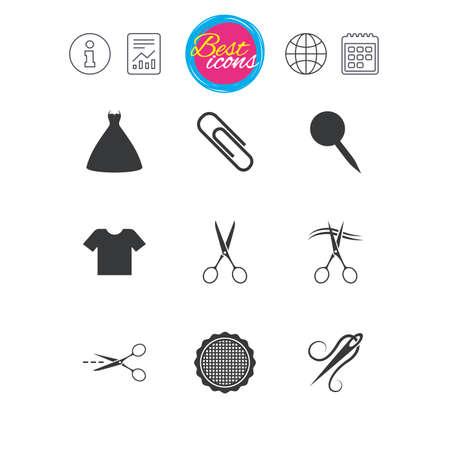 Señales de información, informes y calendario. Iconos de sastre, costura y bordado. Tijeras, pin de seguridad y signos de aguja. Símbolos de la camisa y el vestido Iconos de web plana simple clásico. Vector Ilustración de vector