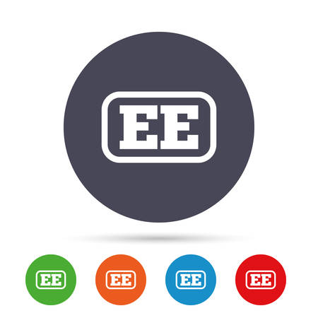 Estonian language sign icon. EE translation symbol with frame. Round colourful buttons with flat icons. Vector