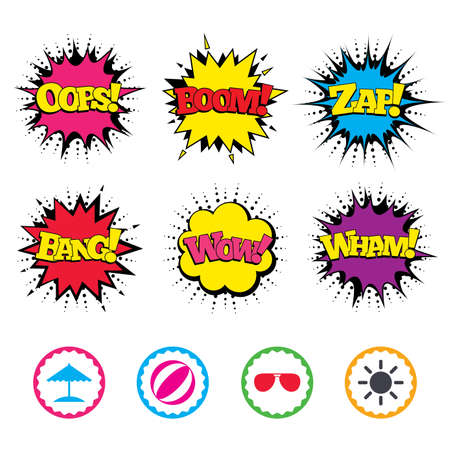 Comic Wow, Oops, Boom and Wham sound effects. Beach holidays icons. Ball, umbrella and sunglasses signs. Summer sun symbol. Zap speech bubbles in pop art. Vector Illustration
