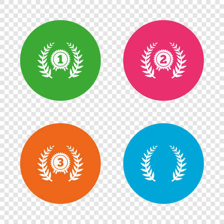Laurel wreath award icons. Prize for winner signs. First, second and third place medals symbols. Round buttons on transparent background. Vector Illustration
