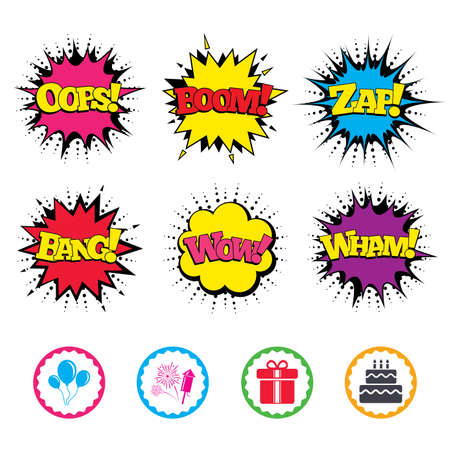 Comic Wow, Oops, Boom and Wham sound effects. Birthday party icons. Cake and gift box signs. Air balloons and fireworks symbol. Zap speech bubbles in pop art. Vector