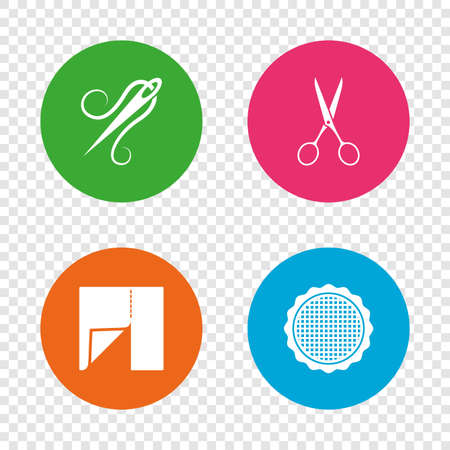 Textile cloth piece icon. Scissors hairdresser symbol. Needle with thread. Tailor symbol. Canvas for embroidery. Round buttons on transparent background. Vector