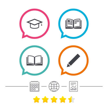 Pencil and open book icons. Graduation cap symbol. Higher education learn signs. Calendar, internet globe and report linear icons. Star vote ranking. Vector