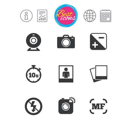 Informationen, Bericht und Kalenderzeichen. Foto, Video-Symbole. Web-Kamera, Fotos und Rahmenschilder. Keine Symbole für Blitz, Timer und Porträt. Klassische einfache flache Netzikonen. Vektor Standard-Bild - 74650951