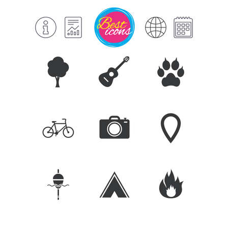 Information, report and calendar signs. Tourism, camping icons. Fishing, fire and bike signs. Guitar music, photo camera and paw with clutches. Classic simple flat web icons. Vector 向量圖像