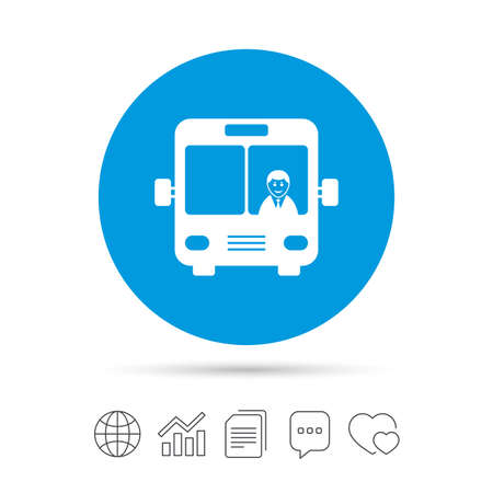 truck driver: Bus sign icon. Public transport with driver symbol. Copy files, chat speech bubble and chart web icons. Vector Illustration