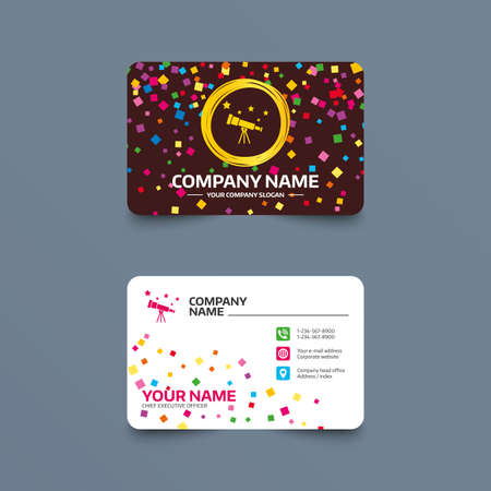 Business card template with confetti pieces. Telescope with stars icon. Spyglass tool symbol. Phone, web and location icons. Visiting card  Vector Illustration