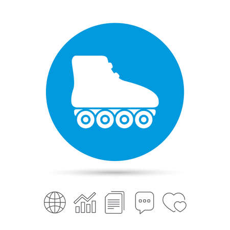 rollerblades: Roller skates sign icon. Rollerblades symbol. Copy files, chat speech bubble and chart web icons. Vector