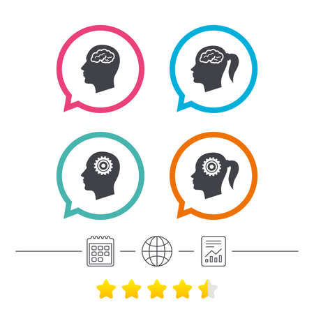 Head with brain icon. Male and female human think symbols. Cogwheel gears signs. Woman with pigtail. Calendar, internet globe and report linear icons. Star vote ranking. Vector