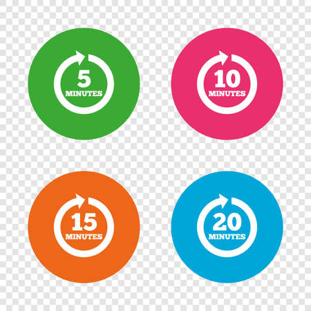 Every 5, 10, 15 and 20 minutes icons. Full rotation arrow symbols. Iterative process signs. Round buttons on transparent background. Vector