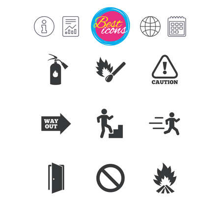 burn out: Information, report and calendar signs. Fire safety, emergency icons. Fire extinguisher, exit and attention signs. Caution, water drop and way out symbols. Classic simple flat web icons. Vector Illustration