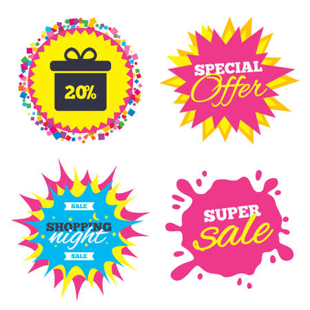판매 시작 배너, 특별 제공 스타. 20 % 판매 선물 상자 태그 기호 아이콘입니다. 할인 기호. 특별 제공 라벨. 밤하늘 레이블 쇼핑. 벡터