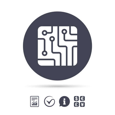 electronic circuit: Circuit board sign icon. Technology scheme square symbol. Report document, information and check tick icons. Currency exchange. Vector