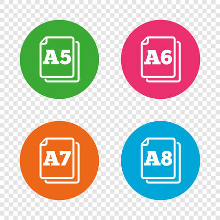 Paper size standard icons. Document symbols. A5, A6, A7 and A8 page signs. Round buttons on transparent background. Vector Illustration