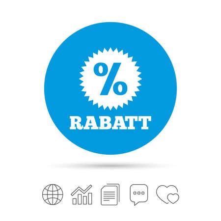 Rabatt - Rabatte in deutschen Zeichen Symbol. Stern mit Prozentzeichen. Kopieren Sie Dateien, Chat-Sprechblasen und Diagrammnetzikonen. Vektor Standard-Bild - 74652576