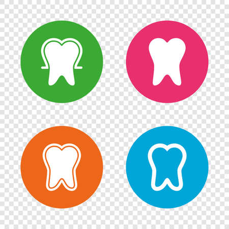 Tooth enamel protection icons. Dental toothpaste care signs. Healthy teeth sign. Round buttons on transparent background. Vector Illustration