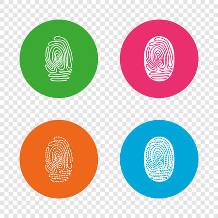 Fingerprint icons. Identification or authentication symbols. Biometric human dabs signs. Round buttons on transparent background. Vector