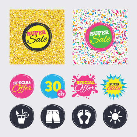 Gold glitter and confetti backgrounds. Covers, posters and flyers design. Beach holidays icons. Cocktail, human footprints and swimming trunks signs. Summer sun symbol. Sale banners. Vector