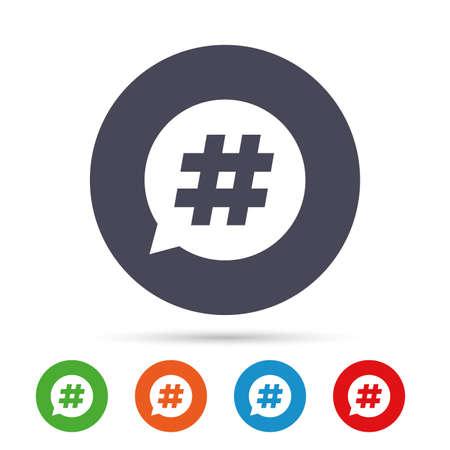 Hashtag toespraak bubble teken pictogram. Social media-symbool. Ronde kleurrijke knoppen met plat pictogrammen. Vector