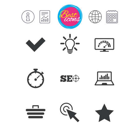 Information, report and calendar signs. Internet, seo icons. Bandwidth speed, online shopping and tick signs. Favorite star, notebook chart symbols. Classic simple flat web icons. Vector