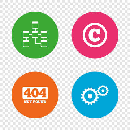 Website database icon. Copyrights and gear signs. 404 page not found symbol. Under construction. Round buttons on transparent background. Vector Illustration