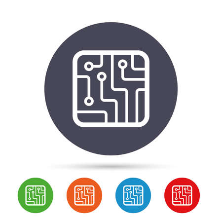 Circuit board sign icon. Technology scheme square symbol. Round colourful buttons with flat icons. Vector