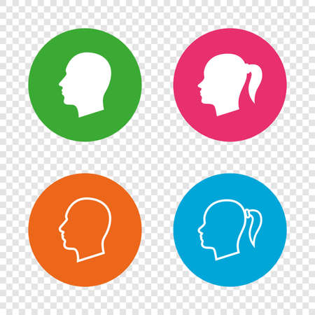 Head icons. Male and female human symbols. Woman with pigtail signs. Round buttons on transparent background. Vector