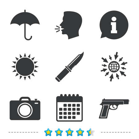 Gun weapon icon.Knife, umbrella and photo camera signs. Edged hunting equipment. Prohibition objects. Information, go to web and calendar icons. Sun and loud speak symbol. Vector