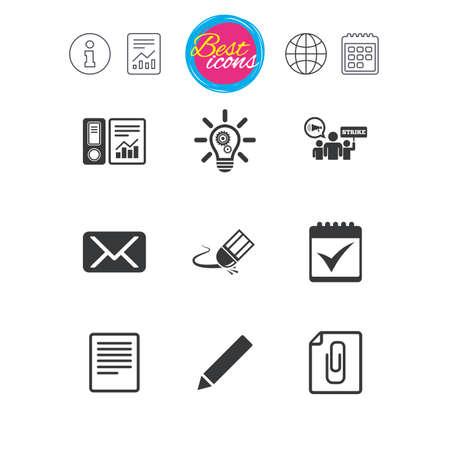 Señales de información, informe y calendario. Oficina, documentos e iconos de negocios. Signos de contabilidad, huelga y calendario. Correo, ideas y símbolos estadísticos. Iconos de web plana simple clásico. Vector Ilustración de vector