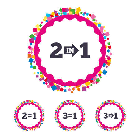 Web buttons with confetti pieces. Special offer icons. Take two pay for one sign symbols. Profit at saving. Bright stylish design. Vector