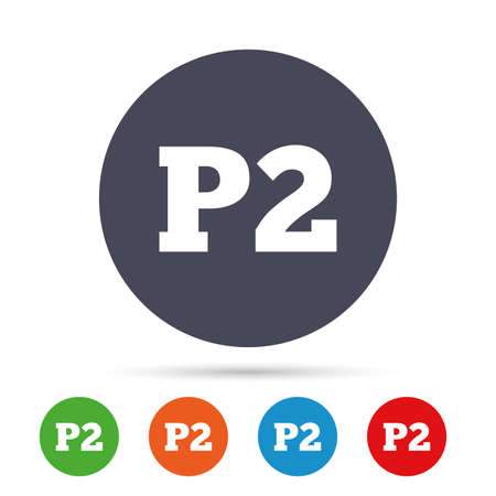 second floor: Parking second floor sign icon. Car parking P2 symbol. Round colourful buttons with flat icons. Vector