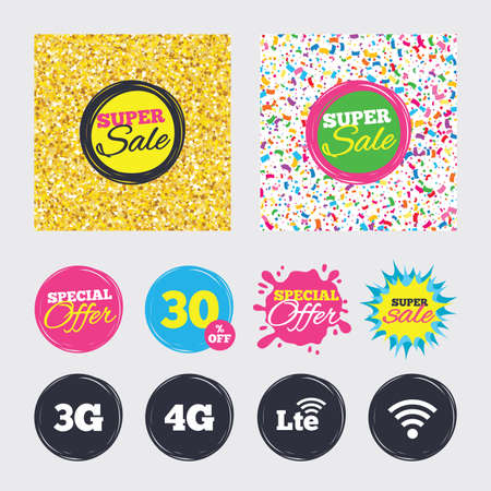 Gold glitter and confetti backgrounds. Covers, posters and flyers design. Mobile telecommunications icons. 3G, 4G and LTE technology symbols. Wi-fi Wireless and Long-Term evolution signs. Sale banners