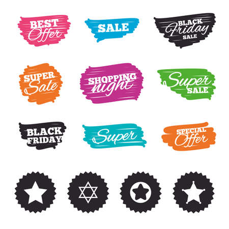 Ink brush sale banners and stripes. Star of David icons. Sheriff police sign. Symbol of Israel. Special offer. Ink stroke. Vector