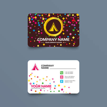 Business card template with confetti pieces. Tourist tent sign icon. Camping symbol. Phone, web and location icons. Visiting card  Vector Illustration