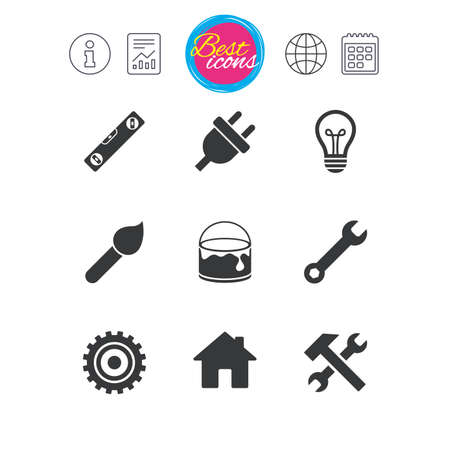 spirit level: Information, report and calendar signs. Repair, construction icons. Hammer, wrench tool and cogwheel signs. Electric plug, lamp and house symbols. Classic simple flat web icons. Vector